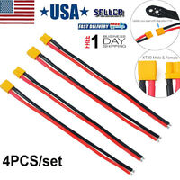 4pcs XT30 Plug Battery Connector Male Female Soft Silicon Cable 16AWG for RC
