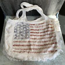 Lauren Moshi White American Flag Fringe Tote Shoulder Bag Cotton C2
