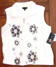 SOFT FLEECE WHITE CHRISTMAS WOMEN'S VEST EMBELLISHED WITH SNOWFLAKES SIZE L