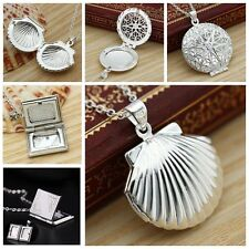 NEW Photo Memory Silver Plated Locket Pendant Chain Charm Necklace Living Gift