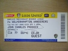 Tickets/ Stubs Reserve League 2005- LEEDS UNITED v WOLVERHAMPTON WANDERERS,4 Oct