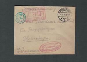 KGF - Brief - Offiziergefangenlager Magdeburg nach Kopenhagen - Zensuren - 1916