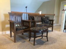 Antique Mission Bench & Chair, Mission Oak, Mid-late 1800's, w/ billiard fabric.