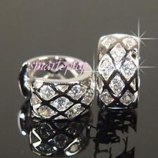White Gold plated  Paved earrings with Clear  Crystal 8mmx15mm
