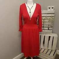 BRAVISSIMO by PEPPERBERRY RED V NECK DRESS (108)
