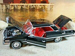 Welly 1/18 '63 Chevrolet Impala 409SS Coupe Tuxedo Black/Red Bucket Seats 425hp.