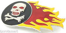 Men's Heavy Pirate Skull Cross Bone On Fire Metal Trouser Belt Buckle Accessory