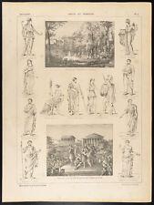 1860 Gravure histoire : Grecs et romains. Costumes, Athènes, Forum de Rome
