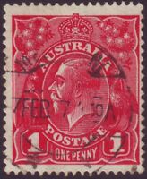 "1d RED SINGLE WMK KGV VARIETY ""THIN ""G"" OF POSTAGE"" FU BW71(2)l CV $150 (A2006M)"