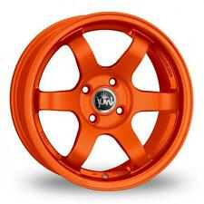 "15"" JUNK DEBRIS MATT ORANGE ALLOY WHEELS ONLY BRAND NEW 4X100 ET20 RIMS"