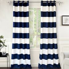 "Pair of Mia Stripe Room Darkening Grommet Window Curtain Panels - 52""x96"" - Navy"