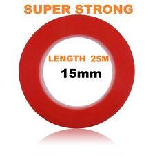 15mm rosso BIADESIVO ADESIVO STICKY TAPE EASY LIFT Super Resistente Lunghezza 25m