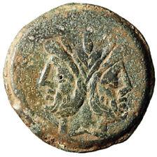 """Roman Republic Ae As """"Janus & Prow of Ship"""" Caecilius Metellus About Vf"""