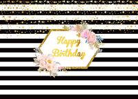Happy Birthday Flower Black White Stripes Stars Photo Background Backdrop Props