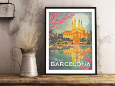 Cartel vendimia viajes Barcelona España Imprimir Regalo Cafe Pared Arte Papel Satinado A4