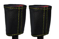 Cuciture giallo 2x Posteriore Cintura Di Sicurezza Pelle copre gli accoppiamenti ALFA ROMEO GIULIETTA 10-15