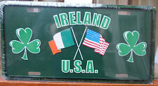 FUN IRISH TRICOLOR IRELAND AND USA CROSSED FLAGS LICENSE PLATE FREE SHIPPING
