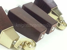 4x WOODEN FURNITURE FEET LEGS WITH BRASS CASTORS FOR SOFAS, CHAIRS, SETTEES M8