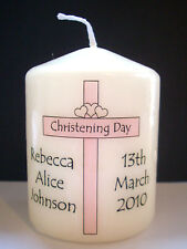 personalised baby girl christening baptism candle gift pink cross keepsake