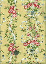 """Savannah"" Floral Print on lt. golden yellow Fabric by Michelle Blackhurst"