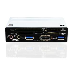 """USB 3.0 Cardreader + eSATA Frontpanel Multi Kartenleser 3,5"""" 8,89cm intern"""
