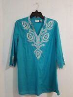 Chicos Women's Tunic Top 3/4 Sleeve V Neck Cotton Aqua Blue Color.Size 1(Medium)