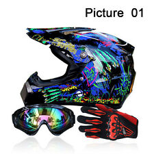 Men Helmet + Goggles + Gloves Racing Helmet Dirt Bike ATV Gear Motocross DOT