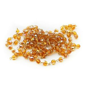Lot (240) Czech vintage vitrail topaz connector wired glass beads 6mm