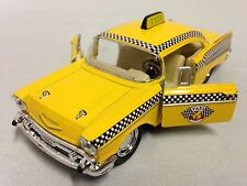 """1957 Chevrolet Bel Air, Taxi, 5"""" Diecast Pull Back Action, 1:40 Scale Toy Yellow"""