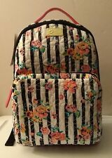 LUV BETSEY JOHNSON Rose Stripe TECH BACKPACK School Tote Travel Carry On FLORAL