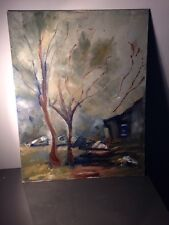 Senza cornice vintage WOODLAND COTTAGE DIPINTO AD OLIO A BORDO Folk Art 36x46cm