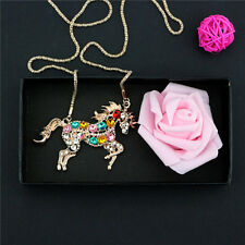 Charm Woman Colorful Crystal Steed Horse Unicorn Pendant Necklace Sweater Chain