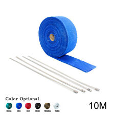 "2"" 33Ft 10M Blue Roll Fiberglass Exhaust Header Pipe Heat Wrap Tape + 4 Zip Ties"