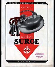 """AULNAY-sous-BOIS (93) ECREMEUSES & MACHINES à TRAIRE """"SURGE MELOTTE"""" CATALOGUE"""