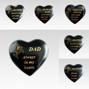 Black & Gold Love Heart Memorial Stone / Pebbles Grave Marker Lily Pic Ornament