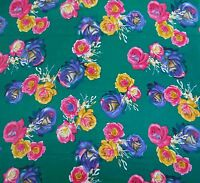 """42""""d Floral Print Green Cotton Craft Fabric Sew Dress Material By The 1 Metre"""