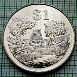 ZIMBABWE 2002 1 DOLLAR, GREAT ZIMBABWE BIRD, UNC