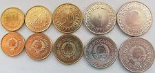 Yugoslavia set of 5 coins 1990-91 (10+20+50 para 1+2 dinars) UNC KM# 139-143