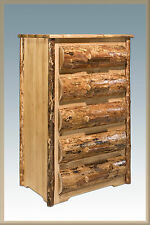 Rustic Bedroom Dressers 5 Drawer Half Log Fronts Chest Lodge Cabin Amish Made