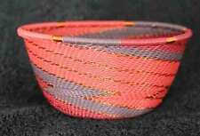 Warm Winter Wine - Handmade African Zulu Telephone Wire Basket/Bowl SM