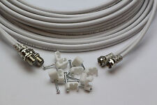 30m White Twin Satellite Shotgun Extension Cable Sky Plus SKY HD & Cable Clips