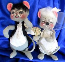 Antique Cloth Mouse Bride Groom Armature Felt Dolls Tagged Usa 1965 Annalee