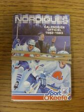 1982/1983 Fixture Card: Ice Hockey - Nordiques Quebec (fold out style). Any faul