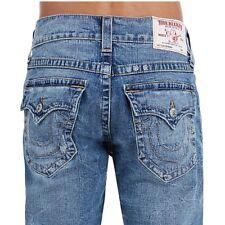 True Religion Men's Skinny Fossil Silk Big T Jeans w/ Flaps in Desperado Ride