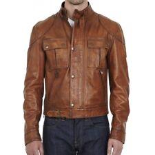 Men Real Leather Jacket Tan Brown Motorcycle Jacket Distressed Biker Jacket -FV