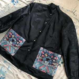 1920s 30s Chinese Dragon Black Silk Brocade Jacket Embroidered Rank Badges Qing