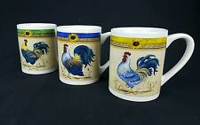 Rooster Coffee Mugs Set of 3 Morning's Call by Gibson Yellow Blue and Green Band
