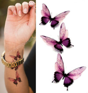 Temporary Tattoo Purple Pink Butterflies Fake Body Art Sticker Waterproof Ladies