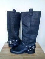 New Saks Fifth Avenue 8.5 Black Leather Equestrian Western Biker Buckle Boot