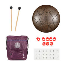 Wuyou 10inch Real Carbon Steel Tongue Drum, 8 note with carrying bag and mallet